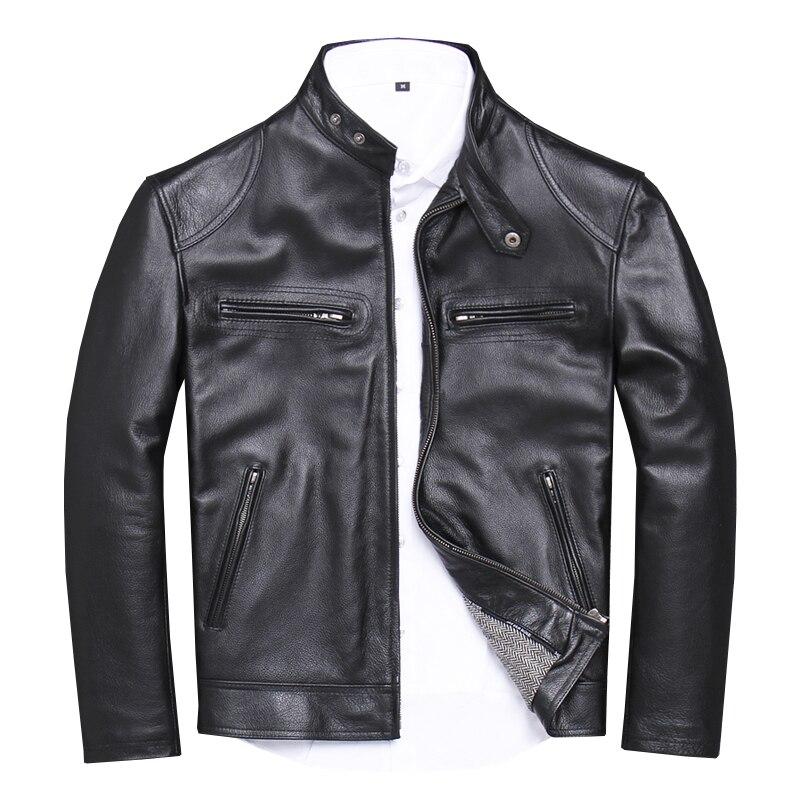 Vest Black Coat Biker's Motorcycle XXXXXL Genuine-Cowhide-Spring American Slim Plus-Size