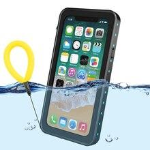 100% su geçirmez çanta için iPhone X XS 7 8 artı darbeye dayanıklı yüzme dalış kapak iPhone X için sualtı koruyucu 7p 8 p Coque