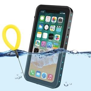 Image 1 - 100% su geçirmez çanta için iPhone X XS 7 8 artı darbeye dayanıklı yüzme dalış kapak iPhone X için sualtı koruyucu 7p 8 p Coque