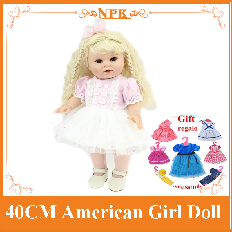 New 40CM American Girl Doll With Brown Long Curly Hair Lifelike Full Vinyl Silicone Bonecas Bebe Doll Toys As Girls Brinquedos new arrival 18inch doll npk american sweet girl with curly long hair in floral skirt dress bonecas bebe kids gift brinquedos