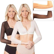 Fashion NEW Plus Size Seamless Arm Shaper Short Cropped Navel Mesh Cardigan Hot Black White Colors Wire Free#25