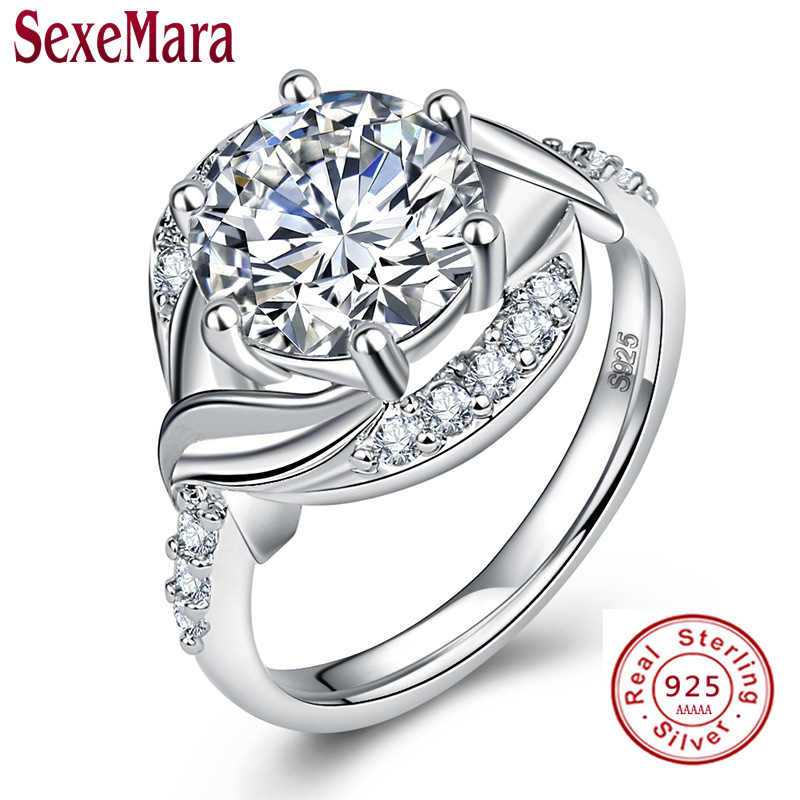 Fashion 1ct CZ Diamant Wedding Rings for Women Solid Classic 100% 925 Sterling Silver Ring Engagement Ring Fine Jewelry S925