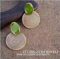 South Korea fashion big retro drop green round carved female earrings jewelry wholesale jewelry