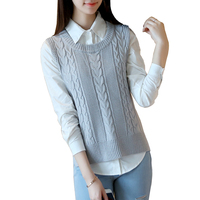 2017 Chinese New Year Vest Women Casual Pure Color Sleeveless Sweater Loose Korean High Quality Women