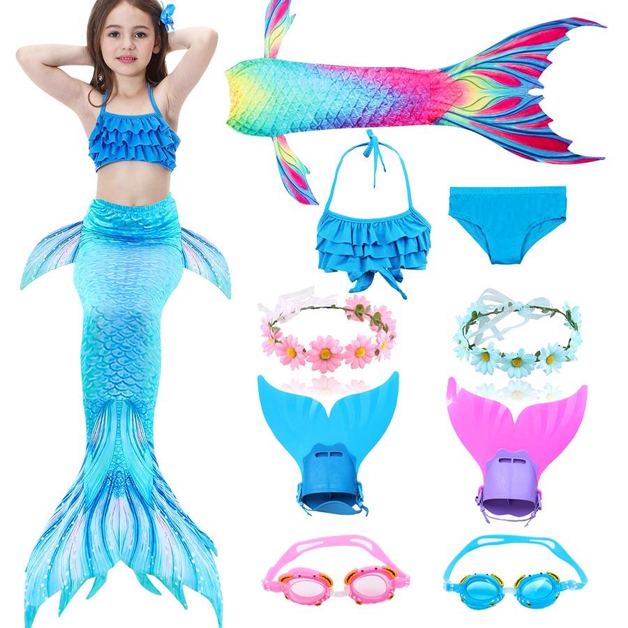 Kids Swimming Mermaid Tail Little Ariel Costume Childrens Swimwable Mermaid Tail with Monofin Clothing Girls Swimwear Swimsuit
