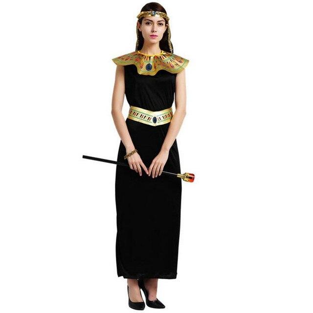 Adulto Cosplay Egitto Costumi Delle Donne Della Signora Nero Vestito Lungo  Cleopatra Costume di Carnevale di be5819af44d