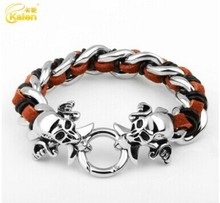 Kalen Gothic 316L Stainless Steel Skull Heads Charm Bracelets Leather Rope Pirate Skeleton Charm Bracelets For Men Punk Jewelry
