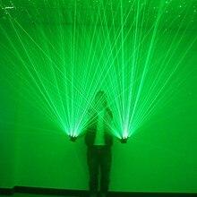 Зеленый лазер перчатки Танцы шоу на сцене свет с 4 шт. лазеры и светодиодный palm свет для DJ Club/вечерние/ bars