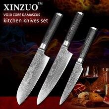 NEWEST XINZUO 3pcs Kitchen knife set Damascus kitchen knife Japanese chef knife sharp vegetable knife pakka handle free shipping