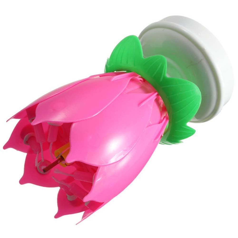 Rosa vela musical flor de loto girar Feliz cumpleaños partido lirio ...