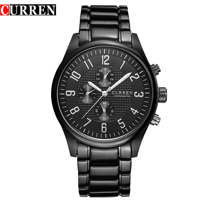 CURREN Brand Men Watches Male Fashion Casual Quartz Watch Sport Full Stainless Steel Analog Display Numeral Business Clock Xfcs eyki mens watches fashion casual men full steel waterproof clock analog quartz watches chronograph display men watch 2016