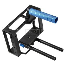 DSLR Rig Camera Video Case Hand-held Cage 15mm Rod System 1/4 3/8 Screw Tripod for 5D Mark II 5D3 60D Slide