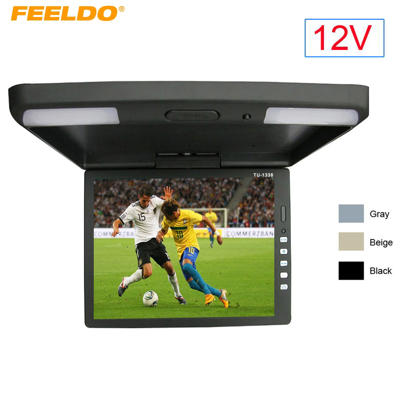 FEELDO DC12V 13.3 Inch Car/Bus TFT LCD Roof Mounted Monitor Flip Down Monitor 2-Way Video Input 12V 3-Color #FD-1289 9 inch flip down tft lcd monitor 12v car monitor beige car roof mounted monitor car ceiling monitor with 2 video input