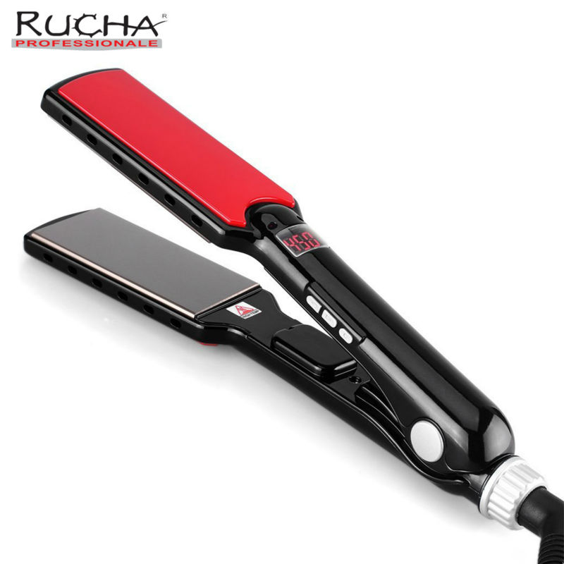 RUCHA Professional Flat Iron 470F High Temperature Wide Plates Straightening Irons MCH Titanium Keratin Treatment Styling Tools