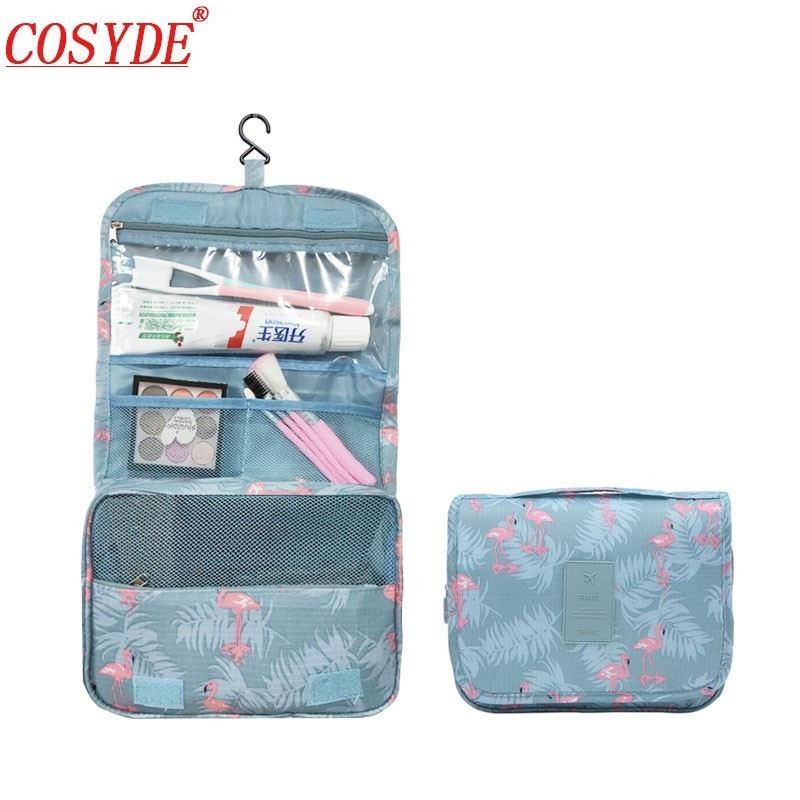 Portable Travel Cosmetic Bag Neceser Nylon Make Up Bag Organizer Hanging Toiletry Bag For Woman Men Waterproof Bathroom Wash Bag