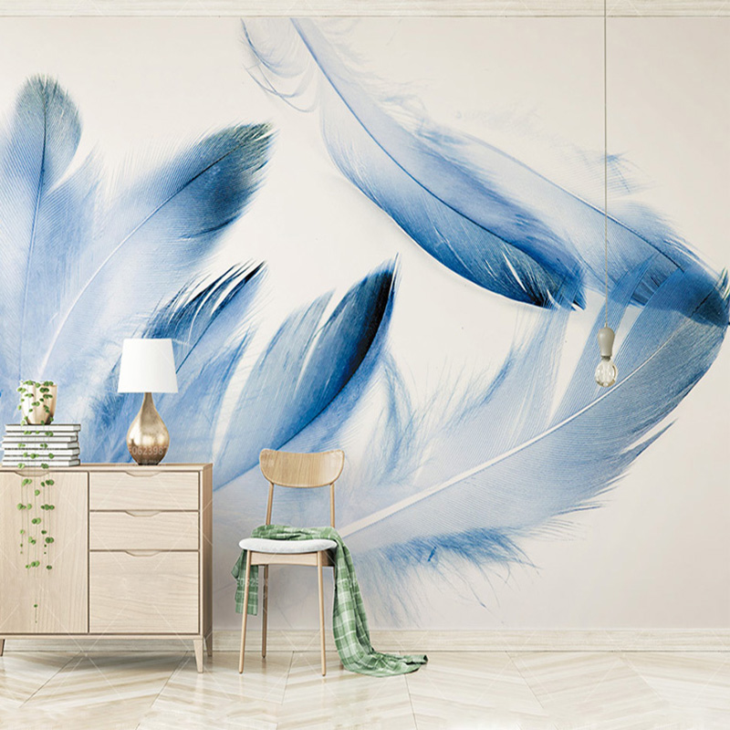 Custom High-end Mural Blue Feather Modern Minimalistic North Europe Wallpaper Living Room Background Photo Wallpaper Home Decor
