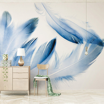 Custom High-end Mural Blue Feather Modern Minimalistic North Europe Wallpaper Living Room Background Photo Home Decor
