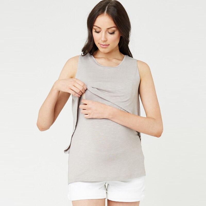 efcea288d1d1d Summer Cotton Pregnant Tops Tees Clothing Maternity Nursing Tank ...