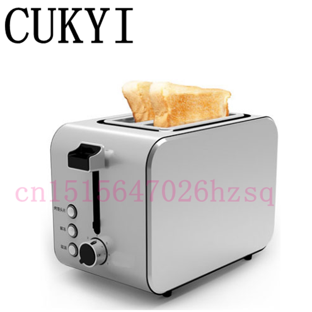 CUKYI Toaster Stainless steel household automatic 2 piece baking bread machine 3.8CM wide slot automatically power off Тостер