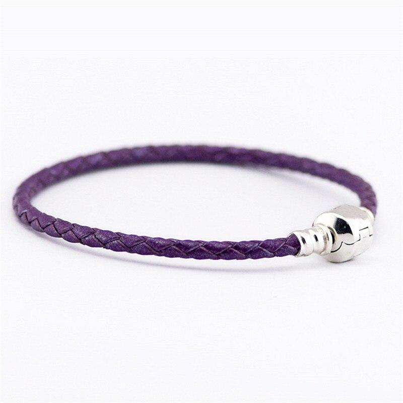 Light Purple Leather Bracelet Barrel Clasp 100% 925 ...