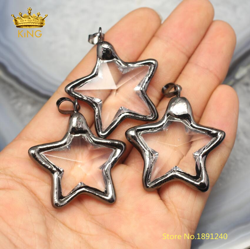 10 x Crystal Glass Faceted Black Star Pendant Charms Electroplated