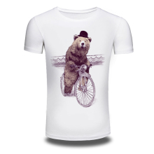 DY-104 Fashion Cartoon Beer Riding Design Men's Personality Printing T Shirt White Tops Hip Hop T shirt Men Tshirt