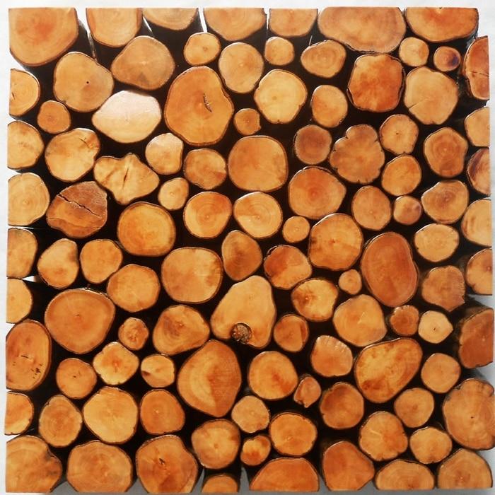 And Small Round Raw Log Wood Mosaic