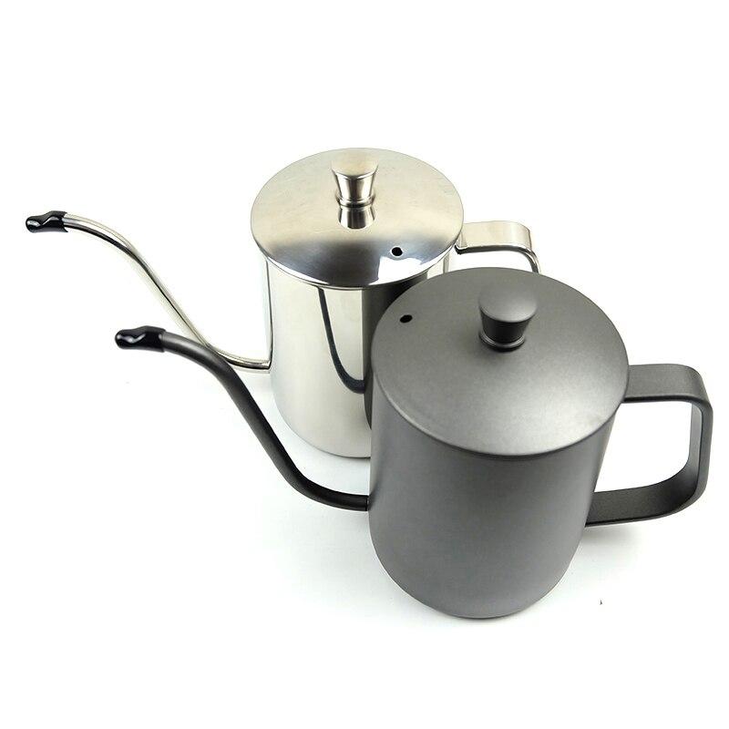 350 ml/600 ml café théière 304 acier inoxydable longue étroite col de cygne bec bouilloire main goutte à goutte bouilloire verser sur la cafetière avec couvercle