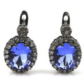 Fashion Rich Blue Violet Tanzanite, White CZ SheCrown Woman's Gift Created Black Gold Silver Stud Earrings 21x14mm