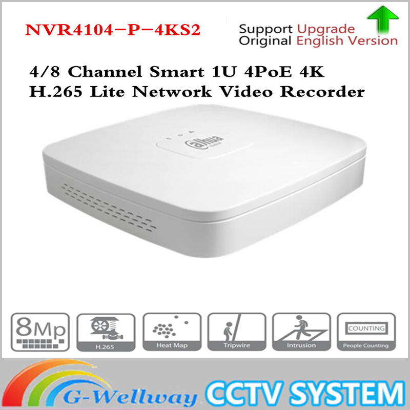 Dahua 4K POE NVR NVR4104-P-4KS2 with 4ch PoE h.265 Video Recorder Support ONVIF 2.4 SDK CGI White POE NVR for ahua CCTV System цена