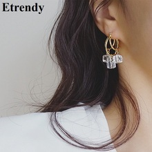 2019 New Korean Earrings Women Simple Crystal Drop Earring Jewelry Wholesale Dress Accessories