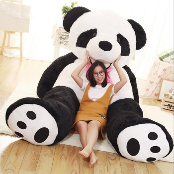 Stuffed & Plush Animals 260CM Giant Oversize Panda Doll Toys Tie Panda Stuffed Plush Panda Bear Doll Kids Gifts Toys for Girls girls panda pattern jumper