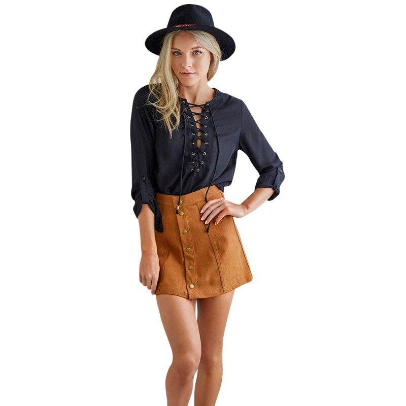 Aliexpress.com : Buy Hot Women Khaki Skirt Suede Faux Line Vintage ...