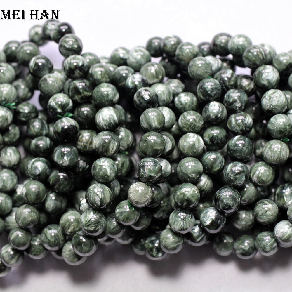 Free Shipping 18 beads set 26g 9 8 10 5mm A natural precious russian seraphinite bracelet