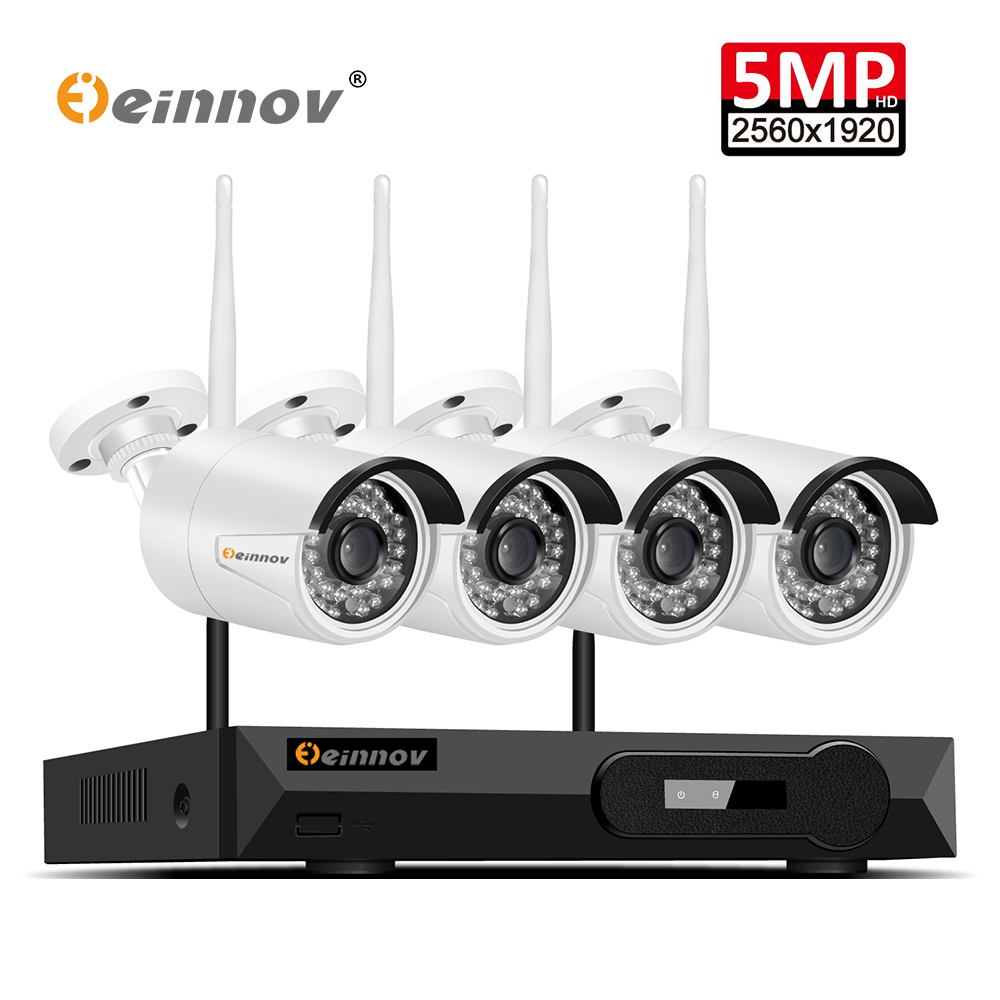 Einnov 4Ch Maison Sans Fil CCTV Caméra Système Vidéo Surveillance Kit WIFI Caméra de Sécurité Système 5.0MP NVR Wifi IpCam P2P IR vue