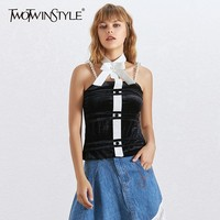 TWOTWINSTYLE Sexy Velour Vest For Women Sleeveless Bowknot Large Size Supender Pearl Tank Female Fashion Clothing Summer 2019