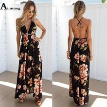 Boho Bow Floral Print Long Dress High waist Halter Summer Sleeveless Women Dress Female Casual Beach Maxi Slit Dress Vestidos все цены