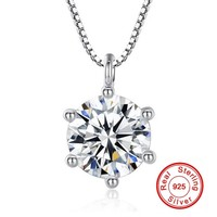 90 OFF Fashion Women 100 925 Sterling Silver Necklace Luxury 2 Carat SONA Diamant CZ Pendant
