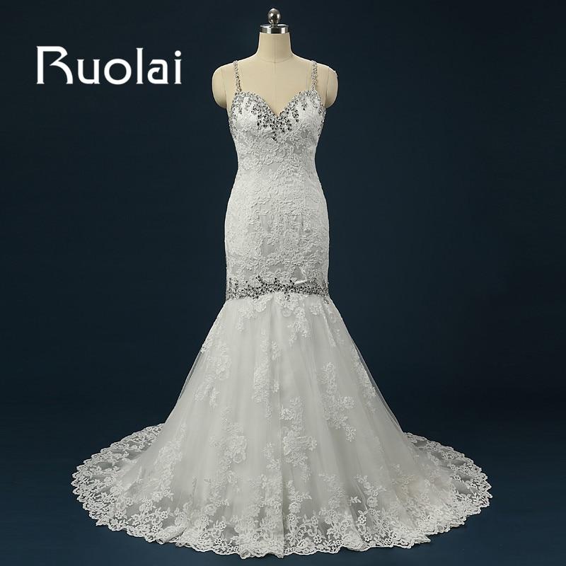 Luxus Strand Mermaid Esküvői ruha 2018 Nehéz gyöngyös szál Spagetti pántok Esküvői ruhák Menyasszonyi ruhák vestido de noiva