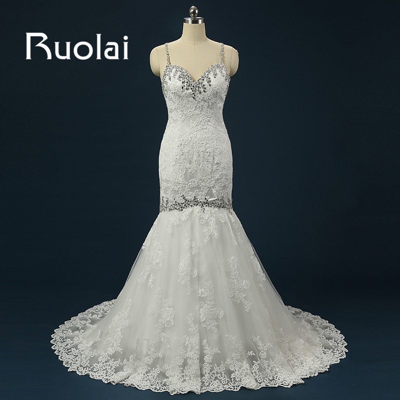 Luxury Beach Mermaid Kāzu kleita 2018 Smagas pērlītes Spageti siksnas Kāzu kleitas Kāzu kleitas vestido de noiva