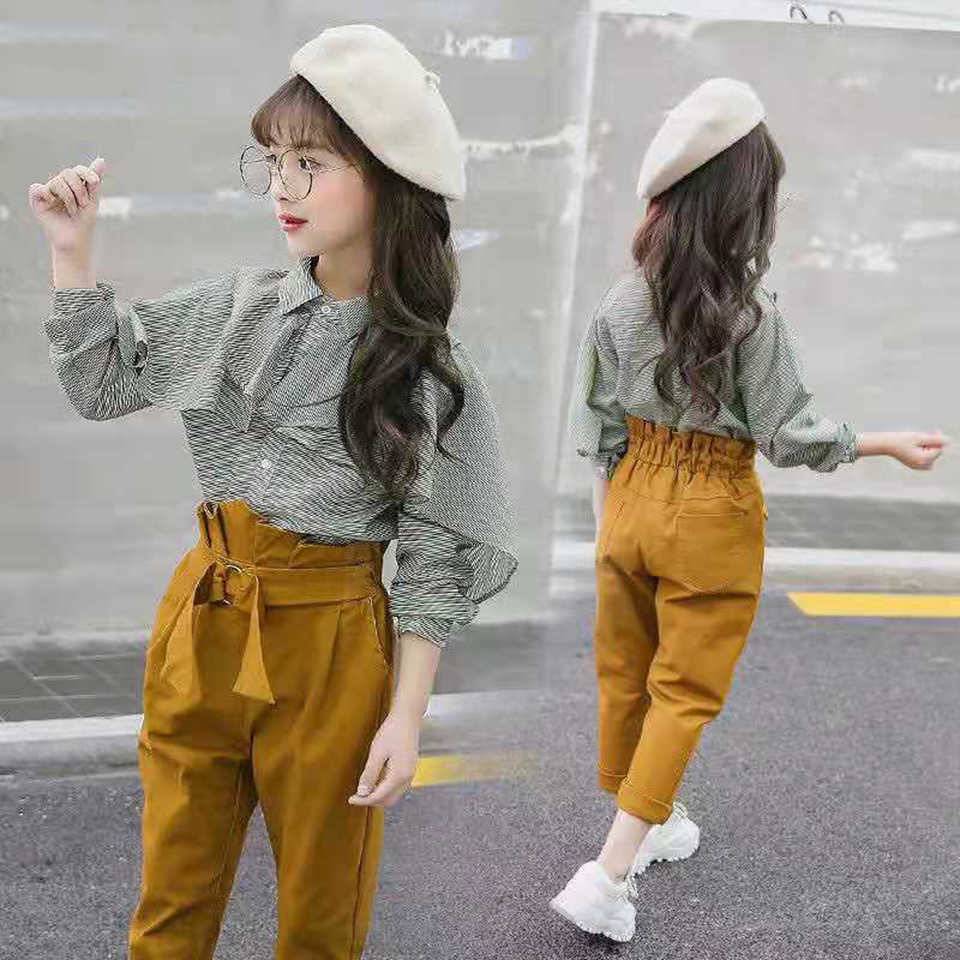 Ropa De Otono Para Ninas Ropa Para Adolescentes De 8 A 12 Anos Camisa Lisa Pantalones A Rayas 2 Uds 10 Y 12 Anos 2020 Set De Ropa Aliexpress