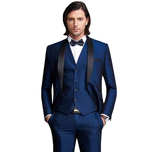 Men's Shawl Lapel 3-Pieces Suit Slim Fit One Button Dress Suit Blazer Jacket Pants Tux Vest Mens Suits With Pants Costume Homme