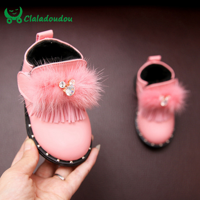 Baby Girl Boots girls Shoes Crystal Shoes For Toddler Girl Fur Red Infant Shoes Princess Pink Baby Boots Cute Baby Booties 0-2Y
