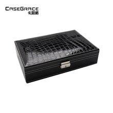 Casegrace refined jewelry box organizador de maquiagem leather big locked earring rings necklace storage organizer boxes 01106