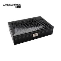 Casegrace Refined Jewelry Box Organizador De Maquiagem Leather Big Locked Earring Rings Necklace Storage Organizer Boxes