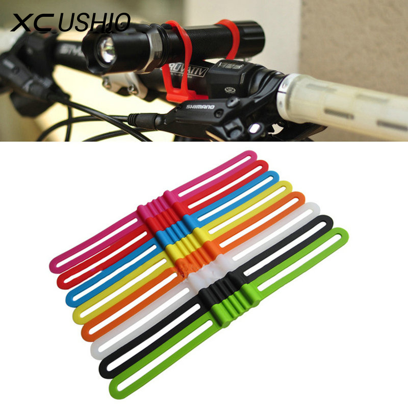 3 piece Cycling Bicycle Bike Elastic Silicone Strap Light Holder Flashlight Bandages Portable Fixing Goods Elastic Tie Rope universal bike bicycle silicone holding elastic strap for flashlight cell phone random color
