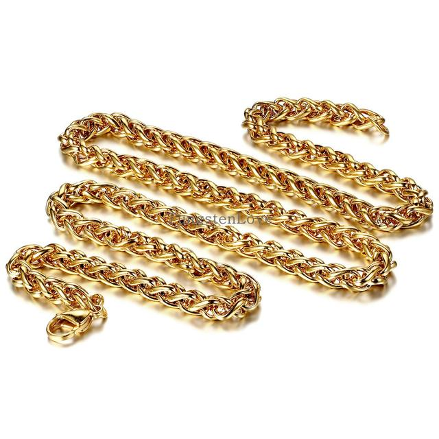 60*5mm Fashion Jewelry Wide Chain Necklace Braided Chain Necklace Wheat Style Stainless steel with gold Tone for Men Women