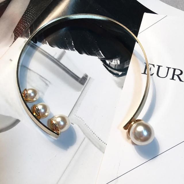 Moda feminina Europen pérola binários Binários colar gargantilha fresco banhado a ouro pérolas do metal do vintage da moda jóias mulheres