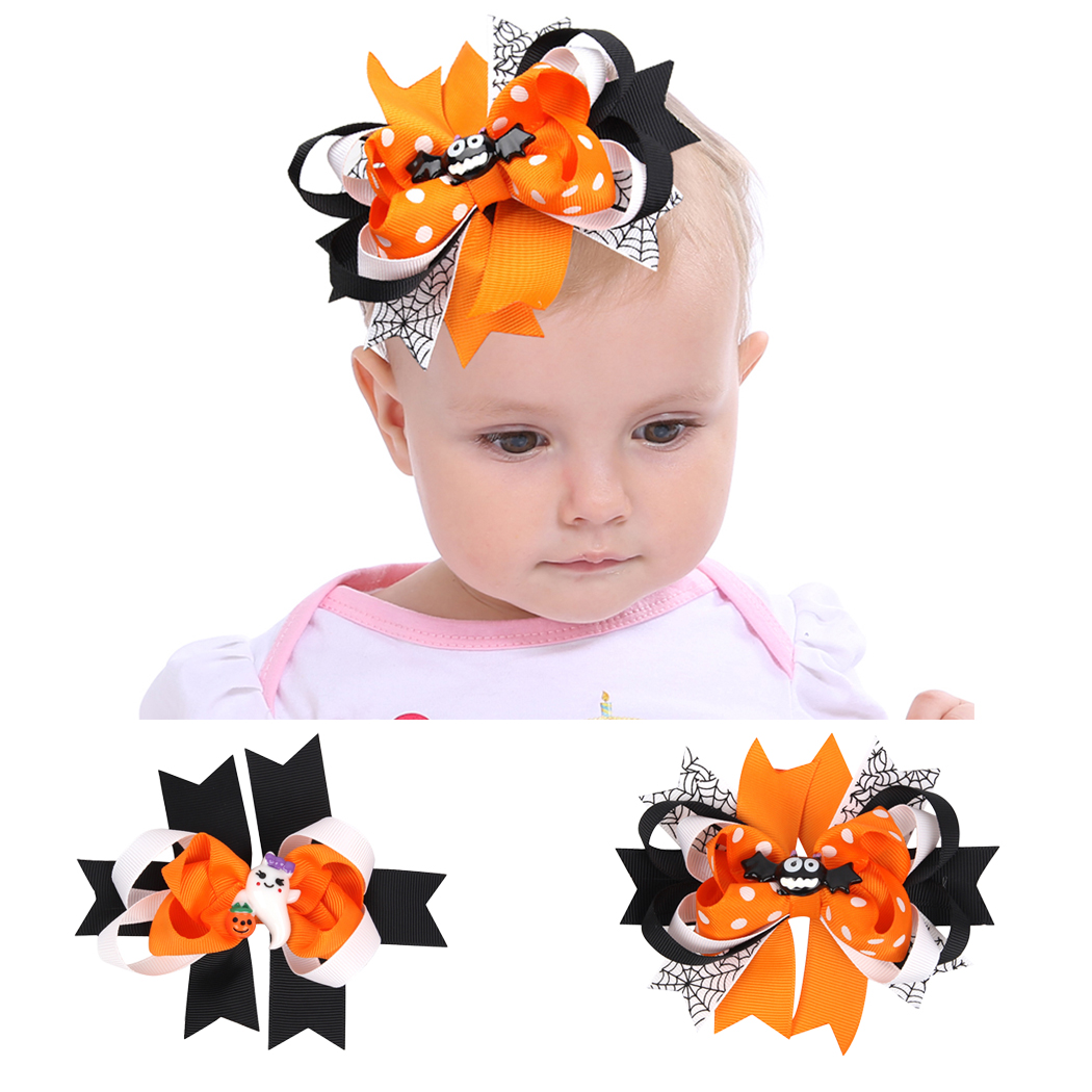 Kids Hair Clip Halloween Ribbon Bat Bowknot Hair Bow Clip Hairpin For Baby Girl Toddler