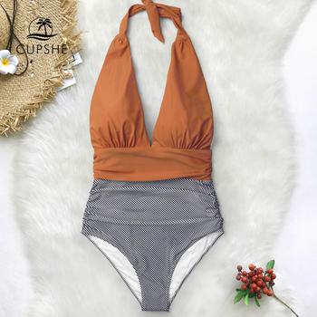 CUPSHE Keeping You Accompained Stripe One-piece Swimsuit V neck Backless Halter Sexy Bikini 2020 Ladies Beach Bathing Swimwear 3